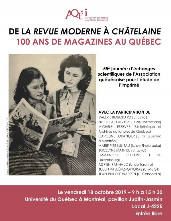 Affiche Journée d étude 100 ans de magazines